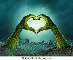 Zombie Hand Heart Shape