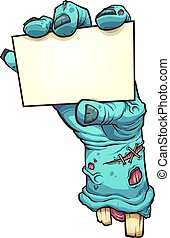 Zombie hand holding blank card