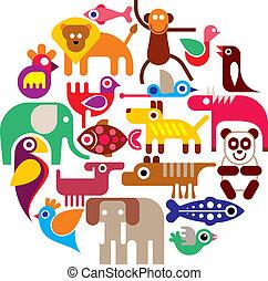 Zoo Animals - round vector