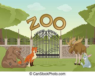 Zoo with cartoon animals